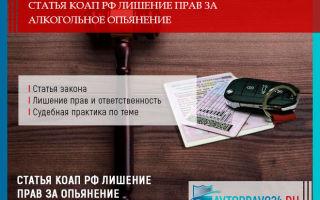 Статья КОАП РФ лишение прав за алкогольное опьянение в 2019 году