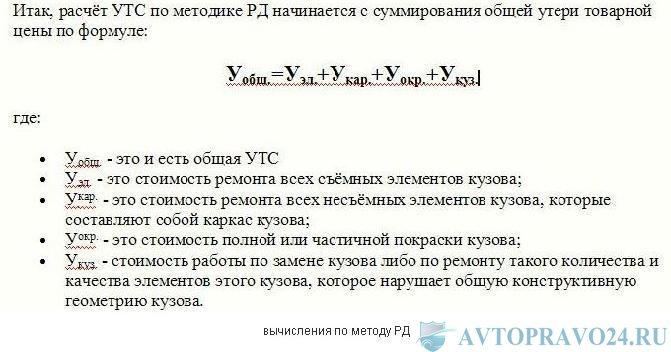 формула расчета УТС