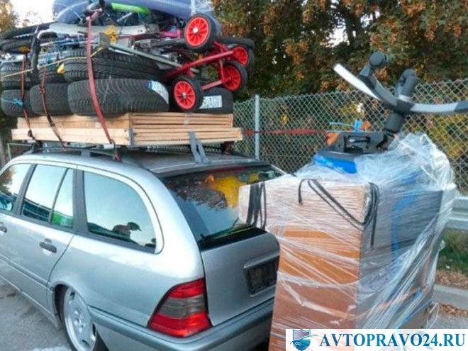 Перегруз легкового автомобиля перевозимым грузом